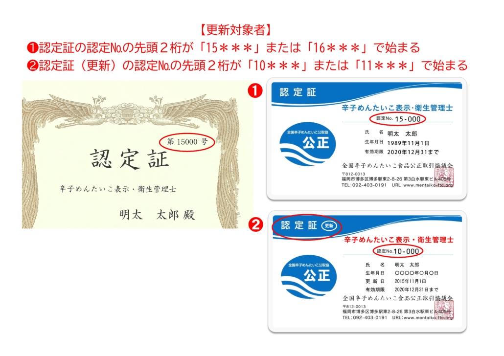更新対象者の認定カード