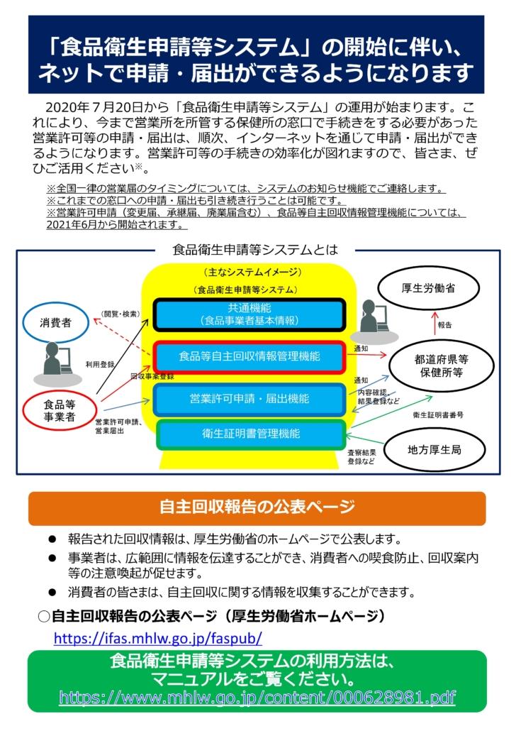 食品衛生申請等システムの運用開始について(パンフレット)